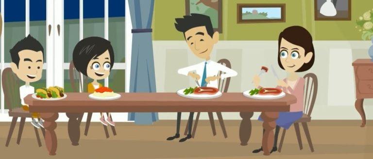Zelflerende intuïtieve assistentie geeft meer tijd en ruimte voor gezinsleven zoals een gezellig gezinsdiner.