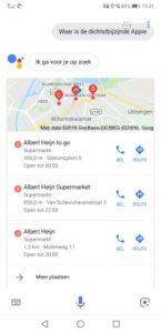 Met de Nederlandse Google Assistent vind je de dichtstbijzijnde Appie